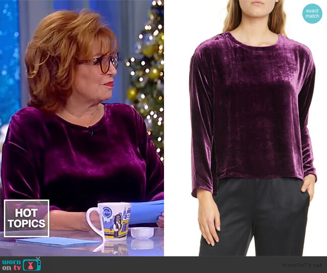 Ballet Neck Velvet Box Top by Eileen Fisher worn by Joy Behar  on The View