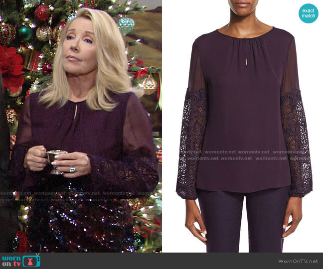 Elie Tahari Brianna Top worn by Nikki Reed Newman (Melody Thomas-Scott) on The Young & the Restless