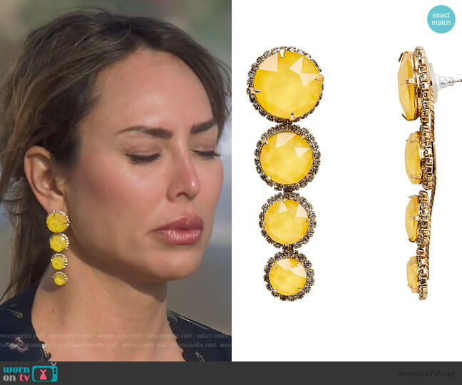Yellow Graduated Drop Earrings by Elizabeth Cole worn by Kelly Dodd  on The Real Housewives of Orange County
