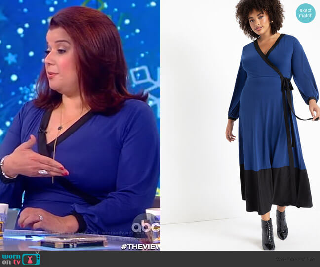 Colorblocked Wrap Dress by Eloquii worn by Ana Navarro  on The View
