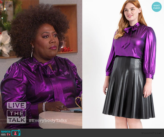 Metallic Bow Blouse by Eloquii worn by Sheryl Underwood  on The Talk