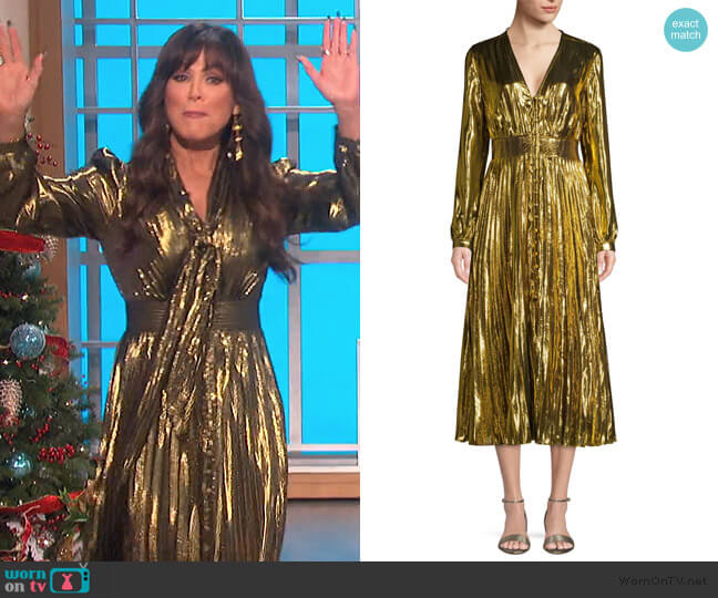 Macin Metallic Midi Dress by Equipment worn by Marie Osmond  on The Talk