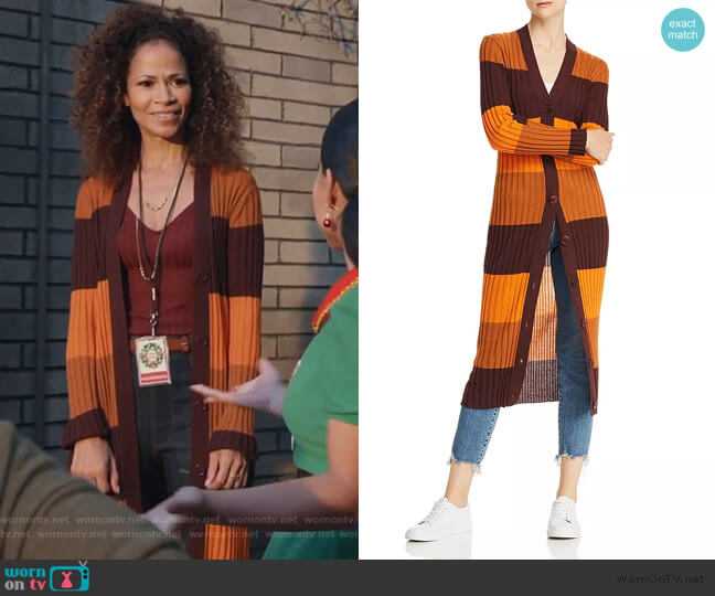 Verelle Striped Wool Long Cardigan by Equipment worn by Sherri Saum on Good Trouble