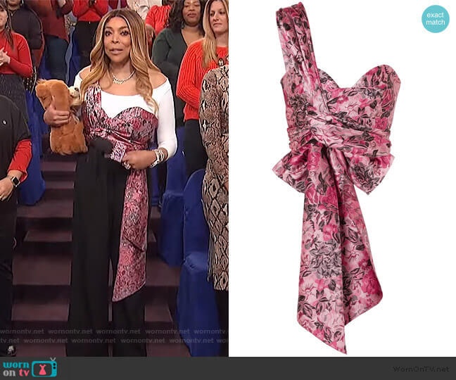 Halle one-shoulder bow-detailed floral-jacquard bustier top by Erdem worn by Wendy Williams  on The Wendy Williams Show