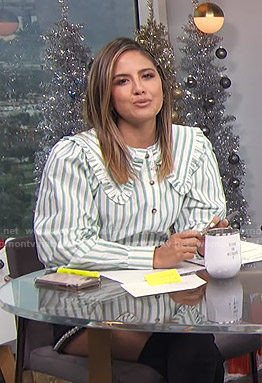 Erin's green and white striped blouse and black shorts on E! News Daily Pop