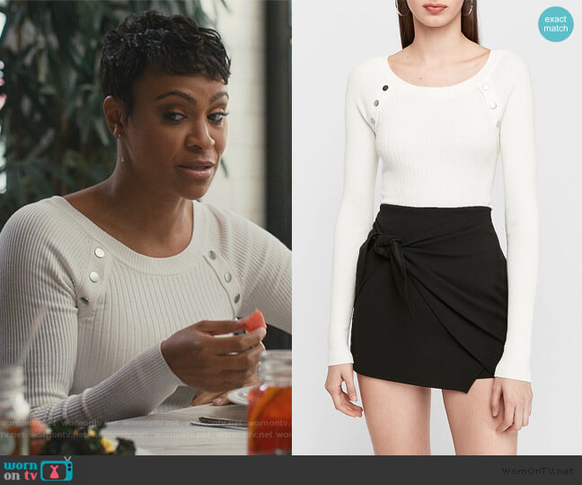 Ribbed Button Shoulder Sweater by Express worn by Angela (Carly Hughes