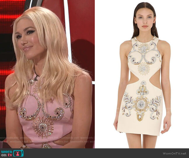 Embellished Wool Crepe Dress with Cut Outs by Fausto Puglisi worn by Gwen Stefani  on The Voice