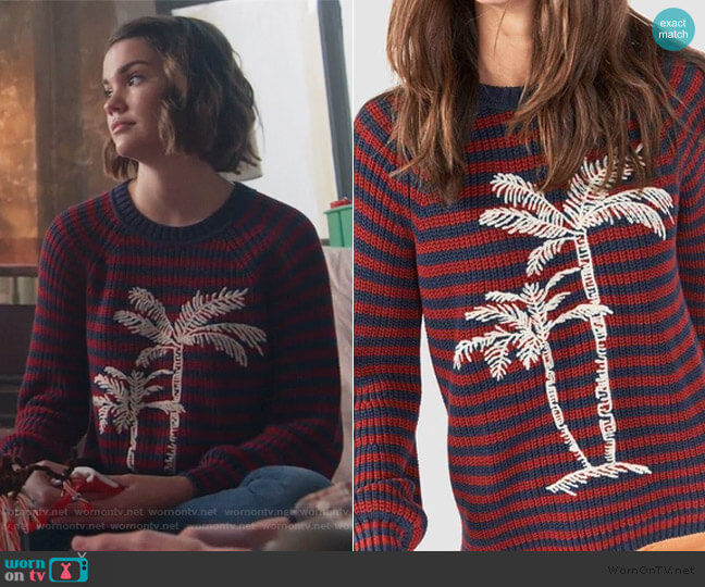 Stripe Palm Sweater by Faherty worn by Callie Foster (Maia Mitchell) on Good Trouble