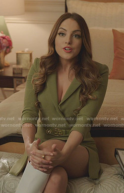 Fallon's green belted blazer dress on Dynasty