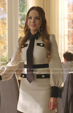 Fallon's white tie neck dress on Dynasty