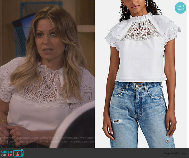 Voile & Eyelet Short-Sleeve Blouse by FiveSeventyFive worn by DJ Tanner-Fuller (Candace Cameron Bure) on Fuller House