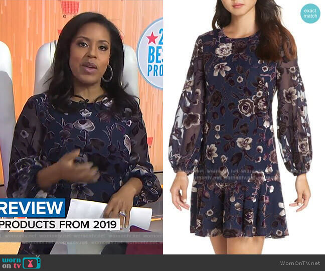Floral Chiffon Shift Dress by Eliza J worn by Sheinelle Jones  on Today