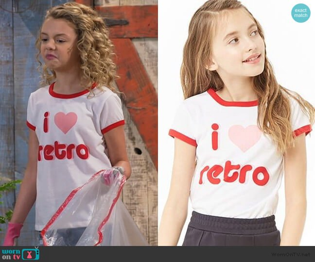 Love Retro Tee by Forever 21 worn by Destiny Baker (Mallory James Mahoney) on Bunkd
