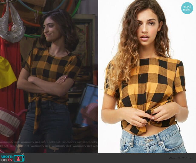 Tie Front Plaid Top by Forever 21 worn by Ramona Gibbler (Soni Nicole Bringas) on Fuller House
