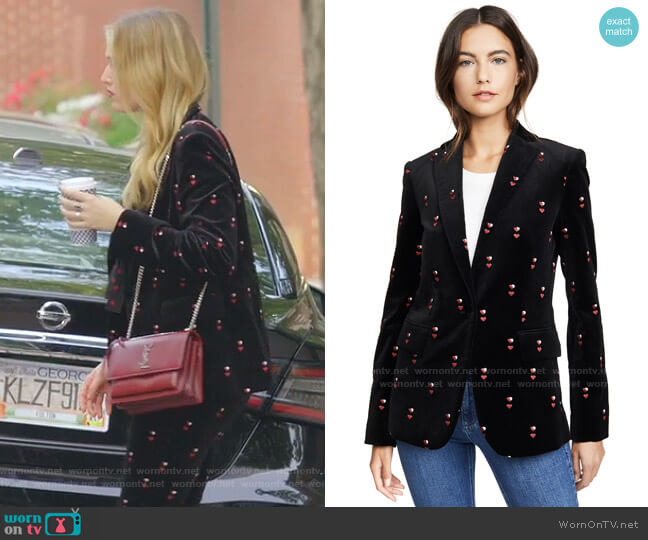 Classic Velvet Blazer by Frame worn by Kirby Anders (Maddison Brown) on Dynasty