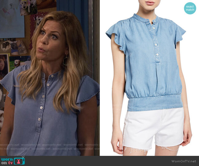 Smocked Flounce Button-Front Popover Blouse by Frame worn by DJ Tanner-Fuller (Candace Cameron Bure) on Fuller House
