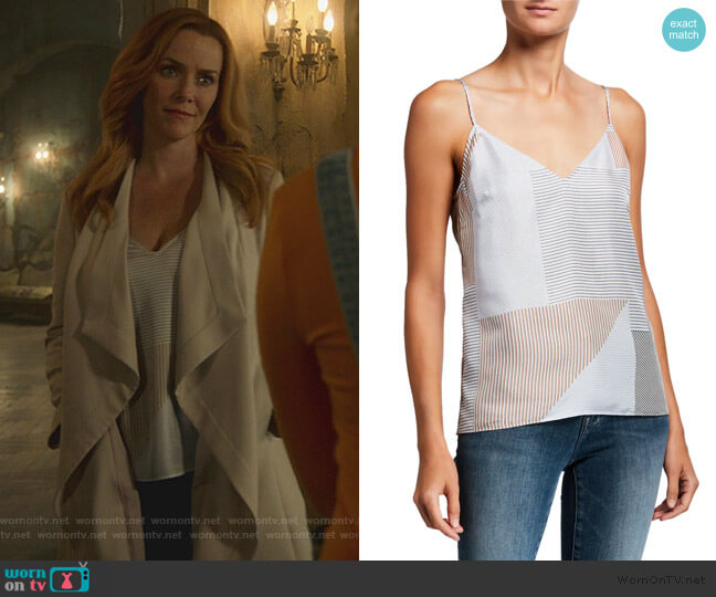 Striped V-Neck Silk Cami by Frame worn by Leslie Dean (Annie Wersching) on Marvels Runaways