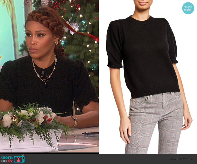 Shirred Sustainable Cashmere Puff-Sleeve Sweater by Frame worn by Eve  on The Talk