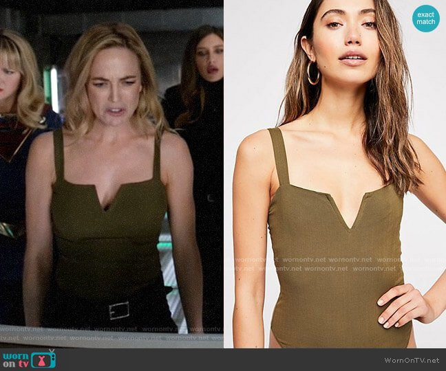 Free People Pippa V-Wire Bodysuit worn by Sara Lance (Caity Lotz) on Legends of Tomorrow
