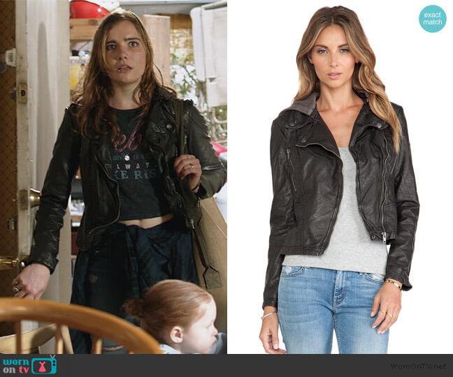 Vegan Leather Hooded Moto Jacket by Free People worn by Elise Kearny Eberle on Shameless