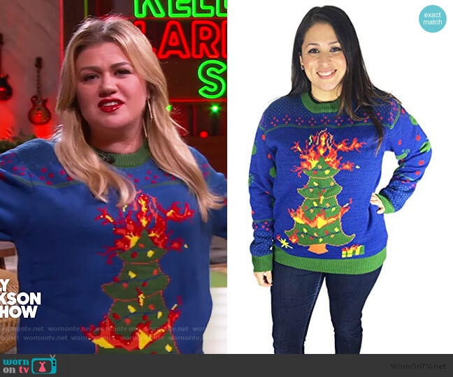 Christmas Tree Ugly Christmas Sweater by FunQi worn by Kelly Clarkson  on The Kelly Clarkson Show