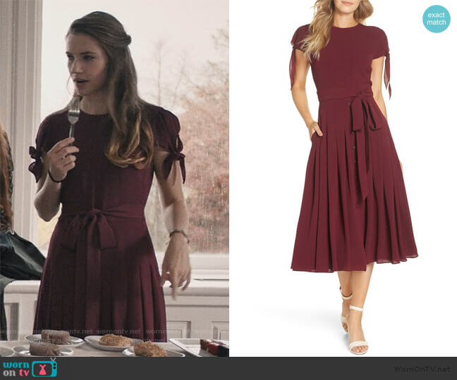 Bette Pleated Midi Dress by Gal Meets Glam Collection worn by Stephanie 'Stevie' McCord (Wallis Currie-Wood) on Madam Secretary