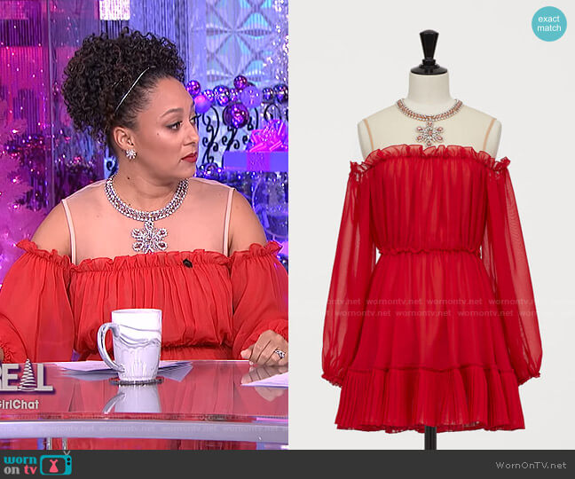 Cold Shoulder Dress by Giambattista Valli x H&M worn by Tamera Mowry  on The Real
