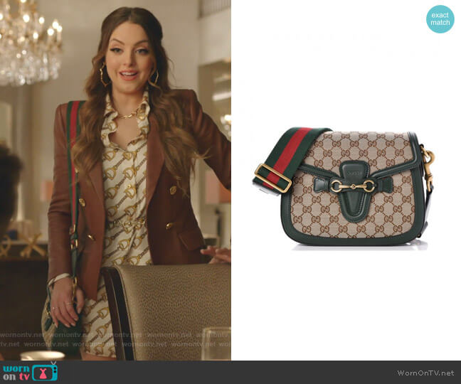 Lady Web GG Canvas Shoulder Bag by Gucci worn by Fallon Carrington (Elizabeth Gillies) on Dynasty