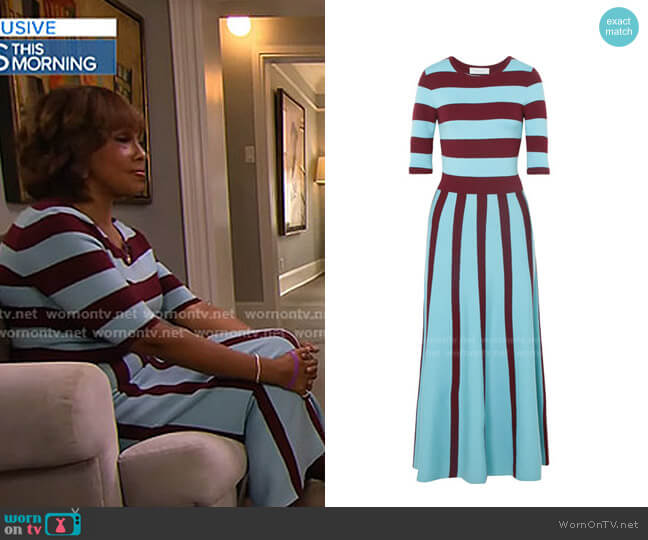 Capote Striped Wool-Blend Midi Dress by Gabriela Hearst worn by Gayle King  on CBS This Morning