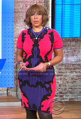 Gayle's pink and purple printed knit dress on CBS This Morning