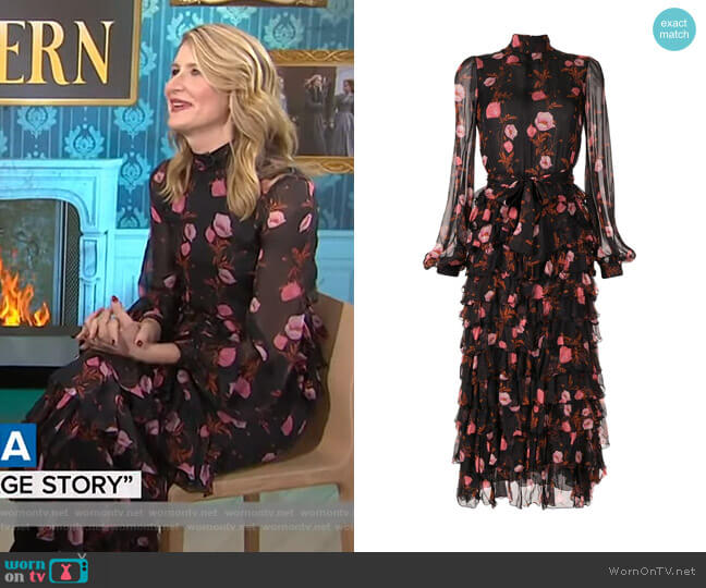 Floral Tiered Ruffle Dress by Giambattista Valli worn by Laura Dern on Today Show