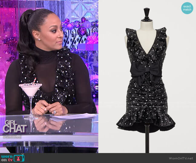 Sequined Cocktail Dress by Giambattista Valli x H&M worn by Tamera Mowry  on The Real