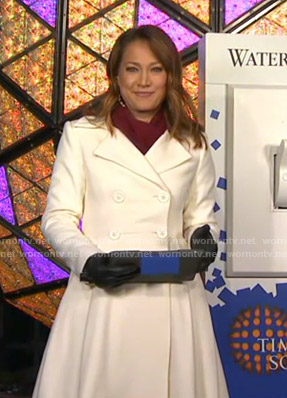 Ginger's white flare coat on Good Morning America