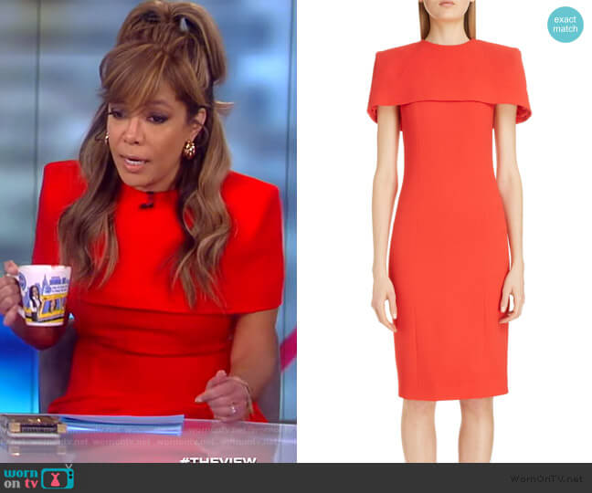 Wool Sheath Dress with Removable Cape by Givenchy worn by Sunny Hostin  on The View