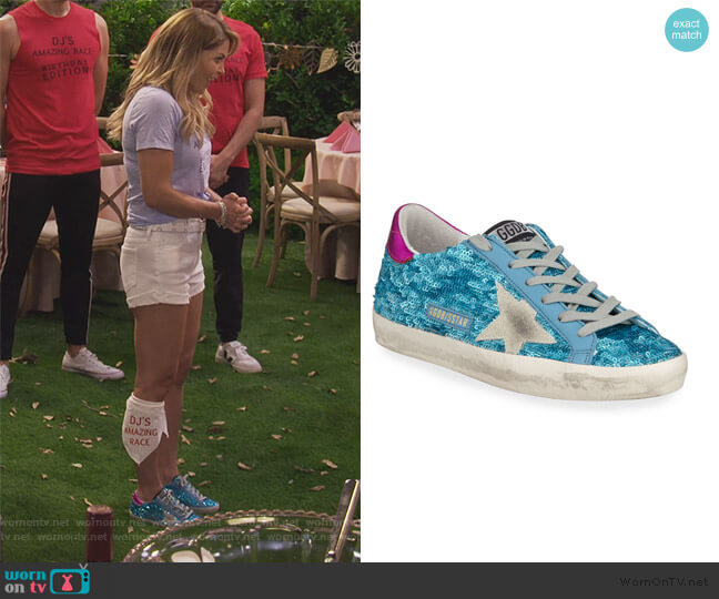 Sequined Superstar Low-Top Sneakers by Golden Goose worn by DJ Tanner-Fuller (Candace Cameron Bure) on Fuller House