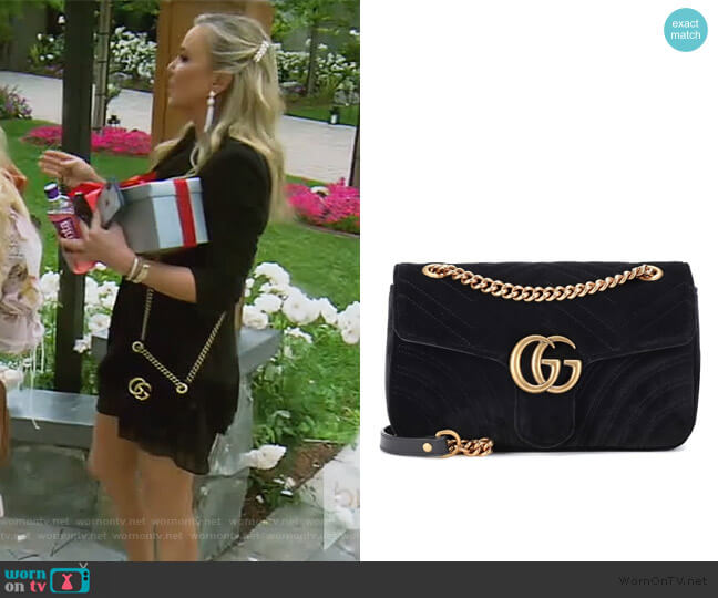 GG Marmont Small velvet shoulder bag by Gucci worn by Shannon Beador  on The Real Housewives of Orange County