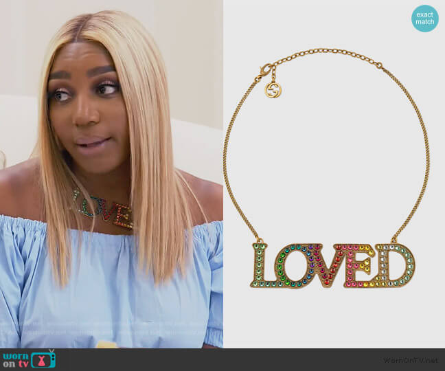 Loved Necklace with Crystals by Gucci worn by Nene Leakes  on The Real Housewives of Atlanta