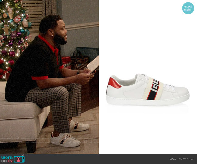 Gucci New Ace Gucci Stripe Leather Sneaker worn by Andre Johnson (Anthony Anderson) on Blackish