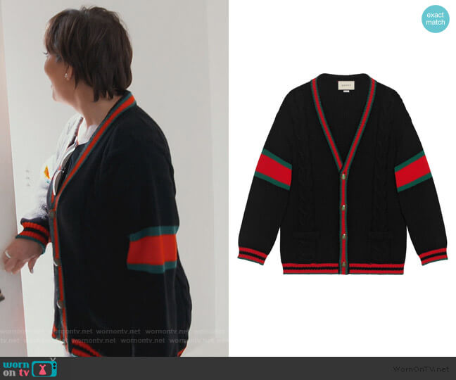 Oversize cable knit Cardigan by Gucci worn by Kris Jenner  on Keeping Up with the Kardashians