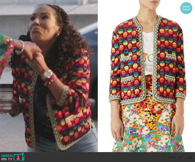 GG Rainbow Stripe Velvet Jacket by Gucci worn by Tanya Sam on The Real Housewives of Atlanta
