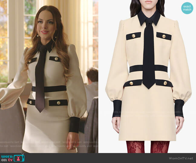 Long Sleeve Cady Crepe Dress with Removable Tie by Gucci worn by Fallon Carrington (Elizabeth Gillies) on Dynasty