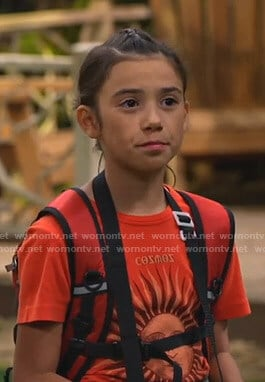 Gwen's red Cosmos sun print tee on Bunkd