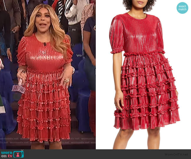 x Atlantic-Pacific Ruffle Plisse Dress by Halogen worn by Wendy Williams  on The Wendy Williams Show