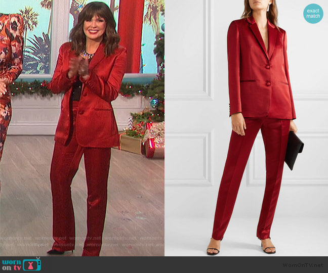Satin blazer and Pants by Helmut Lang worn by Marie Osmond  on The Talk