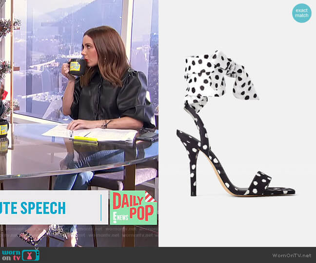 High Heeled Sandals with Polka Dots by Zara worn by Melanie Bromley  on E! News