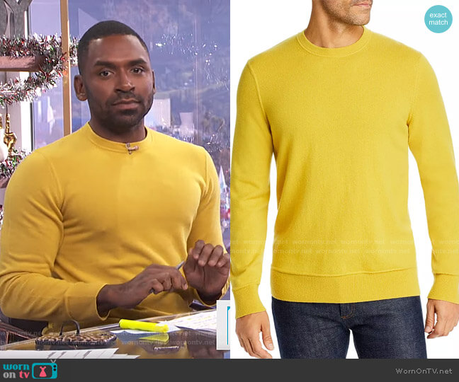Hilles Cashmere Crewneck Sweater by Theory worn by Justin Sylvester  on E! News