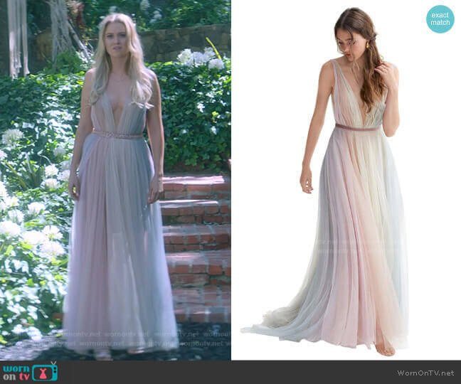 Hutton Rainbow Tulle A-Line Wedding Dress by Willowby worn by Karolina Dean (Virginia Gardner) on Marvels Runaways