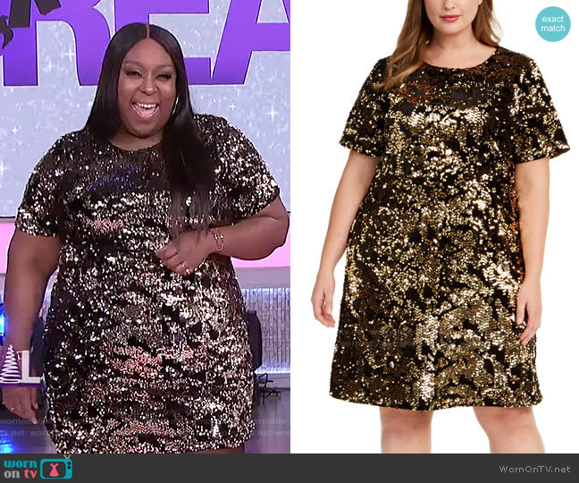 Plus Size Two-Tone Sequin Dress by INC International Concepts worn by Loni Love  on The Real