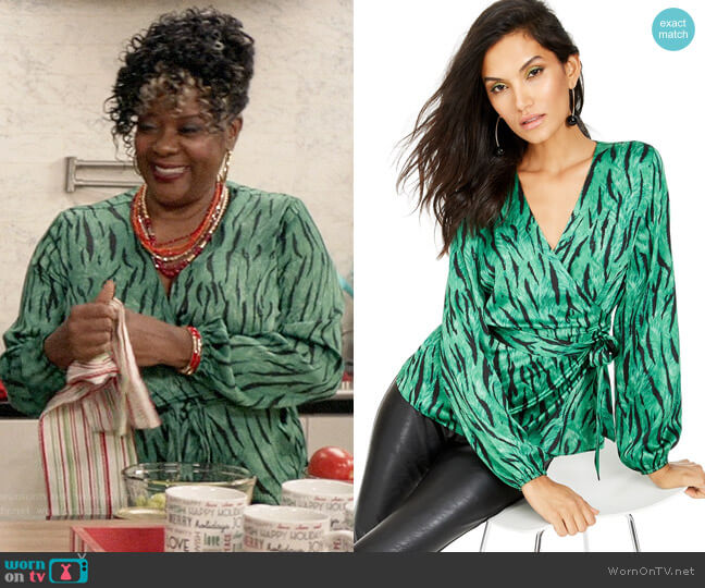 INC International Concepts Zebra-Print Wrap Top worn by Lynette on Black-ish