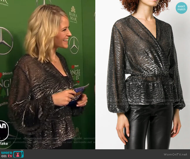 Maryle Wrap Blouse by Iro worn by Sara Haines  on Good Morning America